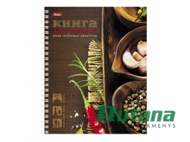 Užrašų knygutė su spirale kulinariniams receptams A5 80 l. rusų k. Hatber 16637