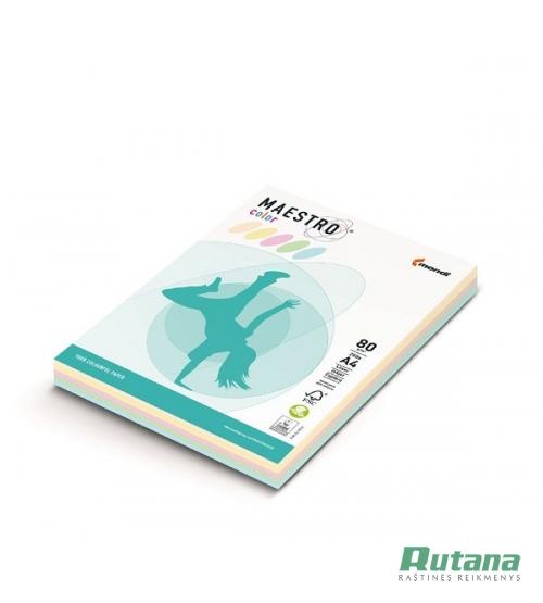 Spalvoto biuro popieriaus Maestro Color pastelinių spalvų rinkinys A4 80g 250l.