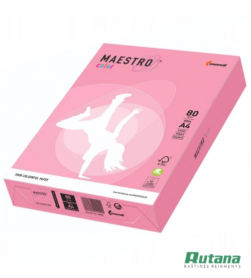 Spalvotas biuro popierius Maestro Color flamingo sp. A4 80g 500l. OPI74