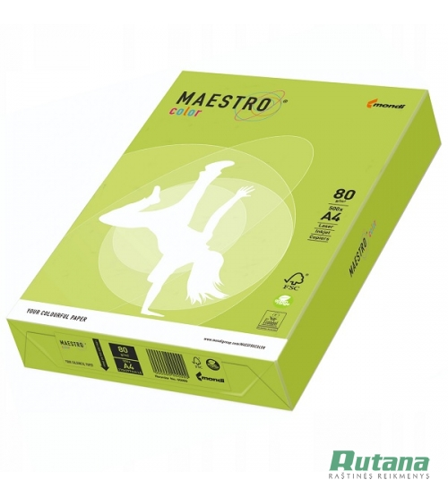 Spalvotas biuro popierius Maestro Color liepų žalia A4 80g 500l. LG46