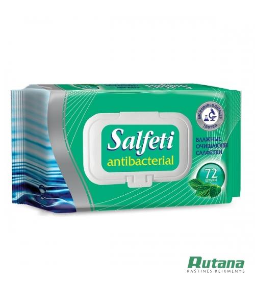 """Antibakterinės drėgnos servetėlės """"Salfeti"""" 72 vnt. su dangteliu pakelyje"""
