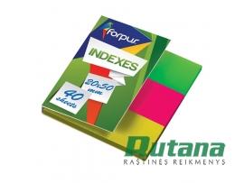 Lipnūs plastikiniai žymekliai - indeksai 20 x 50 mm 3 spalvų Forpus 42029