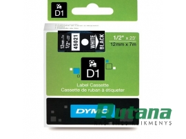 Lipni juostelė D1 12mm x 7m balta/juoda 45021 Dymo S0720610