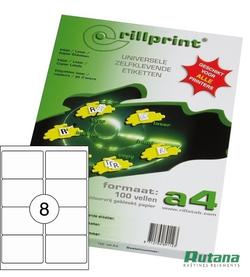 Lipnios etiketės A4/99.1 x 67.7 mm 100 lapų Rillprint 89141
