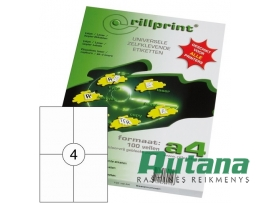 Lipnios etiketės A4/105 x 148 mm 100 lapų Rillprint 89122