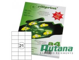 Lipnios etiketės A4/70 x 42.4 mm 100 lapų Rillprint 89113