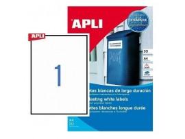 Lipnios etiketės atsparios A4/210 x 297 mm 20 lapų baltos sp. Apli 01228