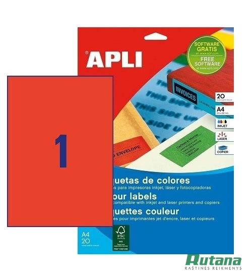 Lipnios etiketės A4/210 x 297 mm 20 lapų raudonos sp. Apli 01601