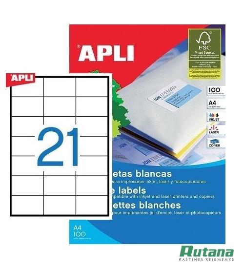 Lipnios etiketės A4/70 x 42.4 mm 100 lapų Apli 03136