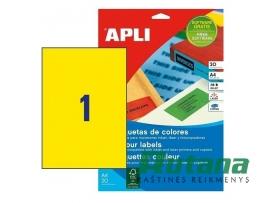 Lipnios etiketės A4/210 x 297 mm 20 lapų geltonos sp. Apli 01599
