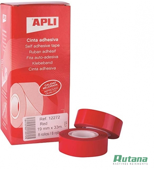 Lipni juostelė 19 mm x 33 m raudona Apli 12272