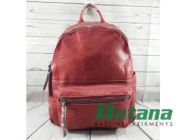 Rankinė-kuprinė odos pakaitalo raudona Paolo Bags N-9529