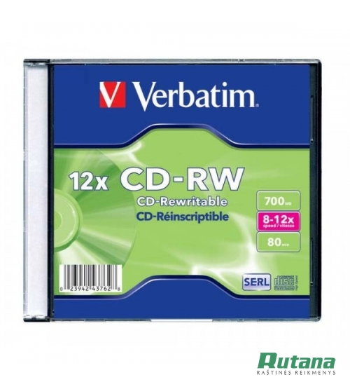 Kompaktinis diskas CD-RW 700MB 8-12x Verbatim 43147