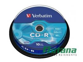 Kompaktiniai diskai CD-R 700MB 52x 10 vnt. Verbatim 43437