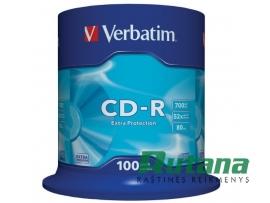 Kompaktiniai diskai CD-R 700MB 52x 100 vnt. Verbatim 43411