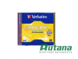 Kompaktinis diskas DVD+RW 4.7GB 4x Verbatim 43228
