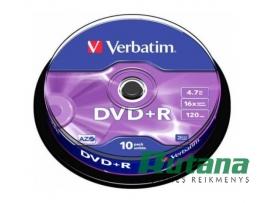 Kompaktiniai diskai DVD+R 4.7GB 16x 10 vnt. Verbatim 43498