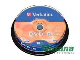 Kompaktiniai diskai DVD-R 4.7GB 16x 10 vnt. Verbatim 43523