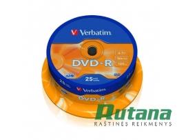 Kompaktiniai diskai DVD-R 4.7GB 16x 25 vnt. Verbatim 43522