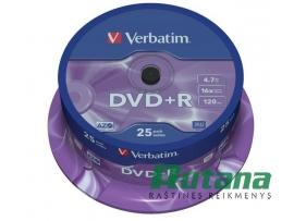 Kompaktiniai diskai DVD+R 4.7GB 16x 25 vnt. Verbatim 43500
