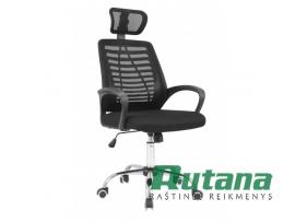Biuro kėdė odinė su tinkliniu audiniu juoda 0120HC