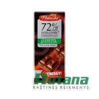 Šokoladas juodas su stevija 72% 100g Pobeda 54023