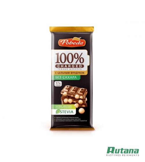 Šokoladas juodas su stevija ir lazdyno riešutais 57% 90g Pobeda 66004