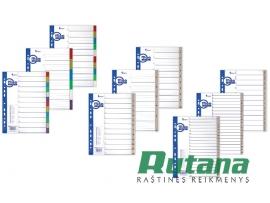 Plastikiniai skiriamieji lapai A4 spalvoti 1-12 Forpus 20444