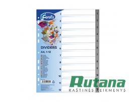 Plastikiniai skiriamieji lapai A4 su skaičiais 1-12 Forofis 91281