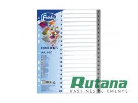 Plastikiniai skiriamieji lapai A4 su skaičiais 1-20 Forofis 91282