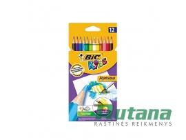 Spalvoti pieštukai akvareliniai Kids Aquacouleur 12 spalvų BIC