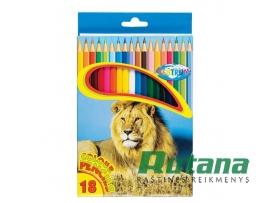 """Spalvoti pieštukai """"Zoo"""" 18 spalvų Centrum 80170"""
