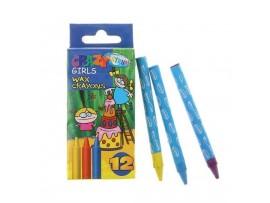 Vaškinės kreidelės Crazy girls 12 spalvų Centrum 80593