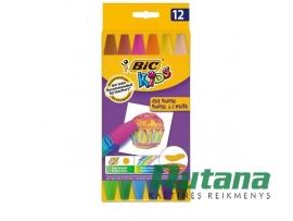 Aliejinės kreidelės Kids Oil Pastel 12 spalvų BIC