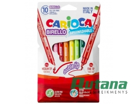 Flomasteriai BIRELLO Carioca dvipusiai 10 spalvų Universal 41438