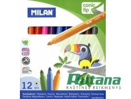 Flomasteriai Conic 12 spalvų Milan 0612312
