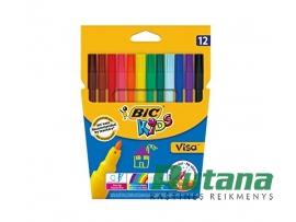 Flomasteriai Kids Visa 12 spalvų BIC