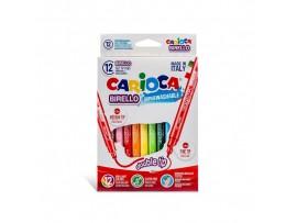 Flomasteriai BIRELLO Carioca dvipusiai 12 spalvų Universal 41457