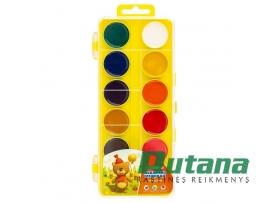"""Akvarelė 12 spalvų """"Cvetik"""" geltona dėžutė Nevskaja Palitra"""